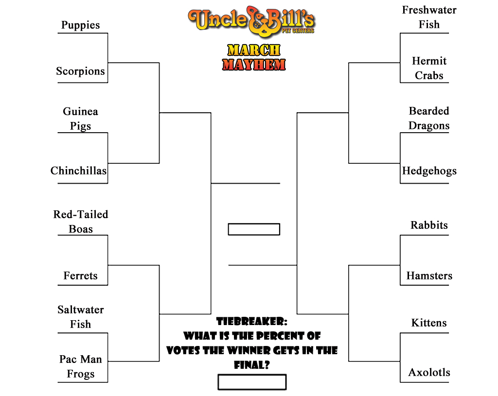 Uncle Bill's March Mayhem Contest Bracket
