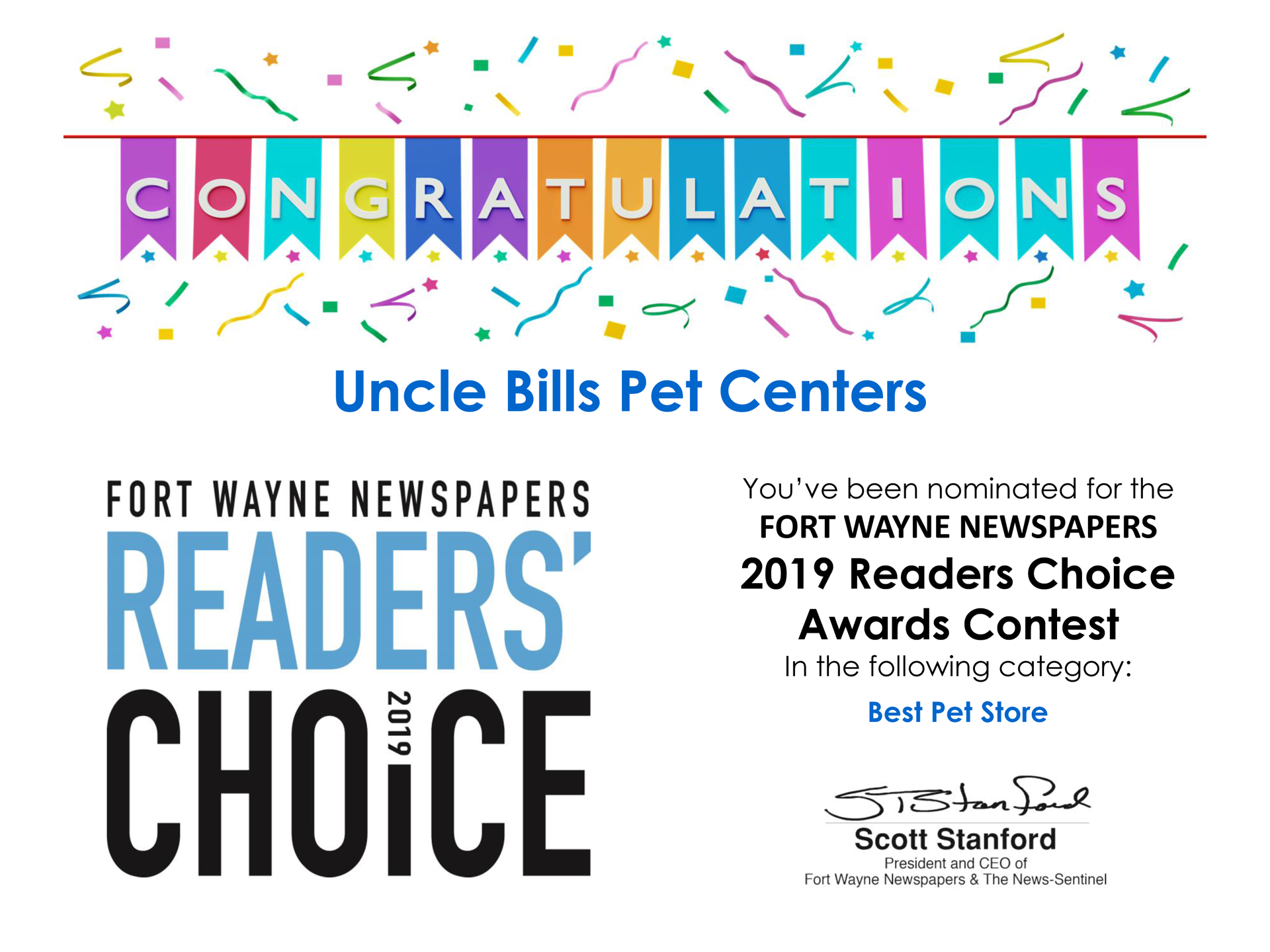 Uncle-Bills_2019-Readers-Choice_Certificate_Ft_Wayne