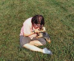 Dr Graybow Plays with Yorkie Puppy Outside